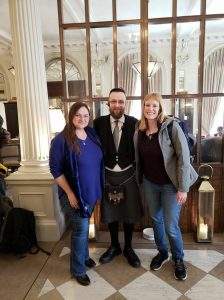 Stacy Christina and our kilted concierge at the Principal Hotel