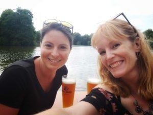 Christina in Munich Beer garden with good friend